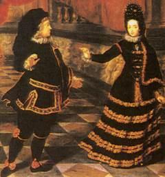 Kurfürst Johann Wilhelm II. und Kurfürstin Anna Maria Luisa de'Medici in spanischer Tanztracht
